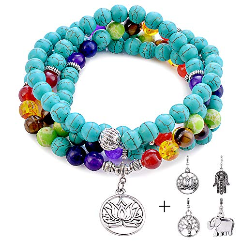 (Bracelet for Women Men Turquoise - 8mm Healing Turquoise 108 Mala Chakra Anxiety Bead Bracelet Tree of Life 7 Chakras Bracelets Necklace for Women Men Best Wedding Gifts Bridal Gifts Retirement Gifts)