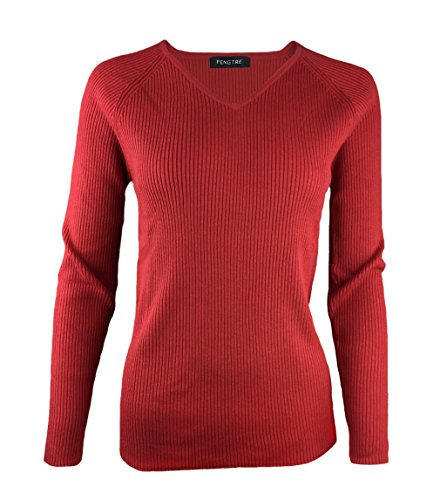 Fengtre Women's Tencel Cashmere Knit Warm V-neck Stretch Long Sleeve Soft Pullover Loose Sweater,Dark-red