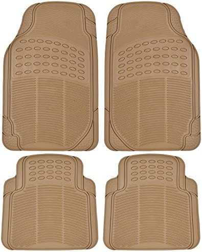 All Weather Tough Rubber Car Floor Mats Liners-Heavy Duty Trimmable Semi Custom Fit for Car Truck Van SUV (Beige)