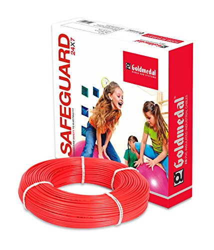 Goldmedal 1.0Sq mm Flame Retardant PVC Insulated Fire Retardant Wire (Red)