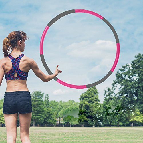 3 Pound Weighted Hula Hoop For Exercise Weight Loss. Perfect for Dancing, Hot Fitness Workouts and Simply the Funnest Way to Lose Weight (Pink and Gray)