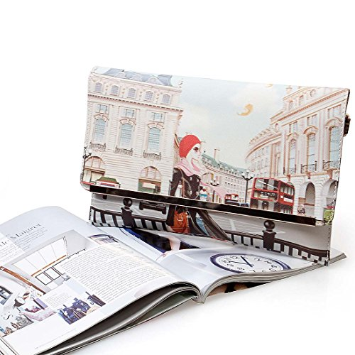 BMC Womens Textured PU Faux Leather Postage Stamp Design Print Flap Fashion Clutch Handbag - London Chic by b.m.c (Image #6)