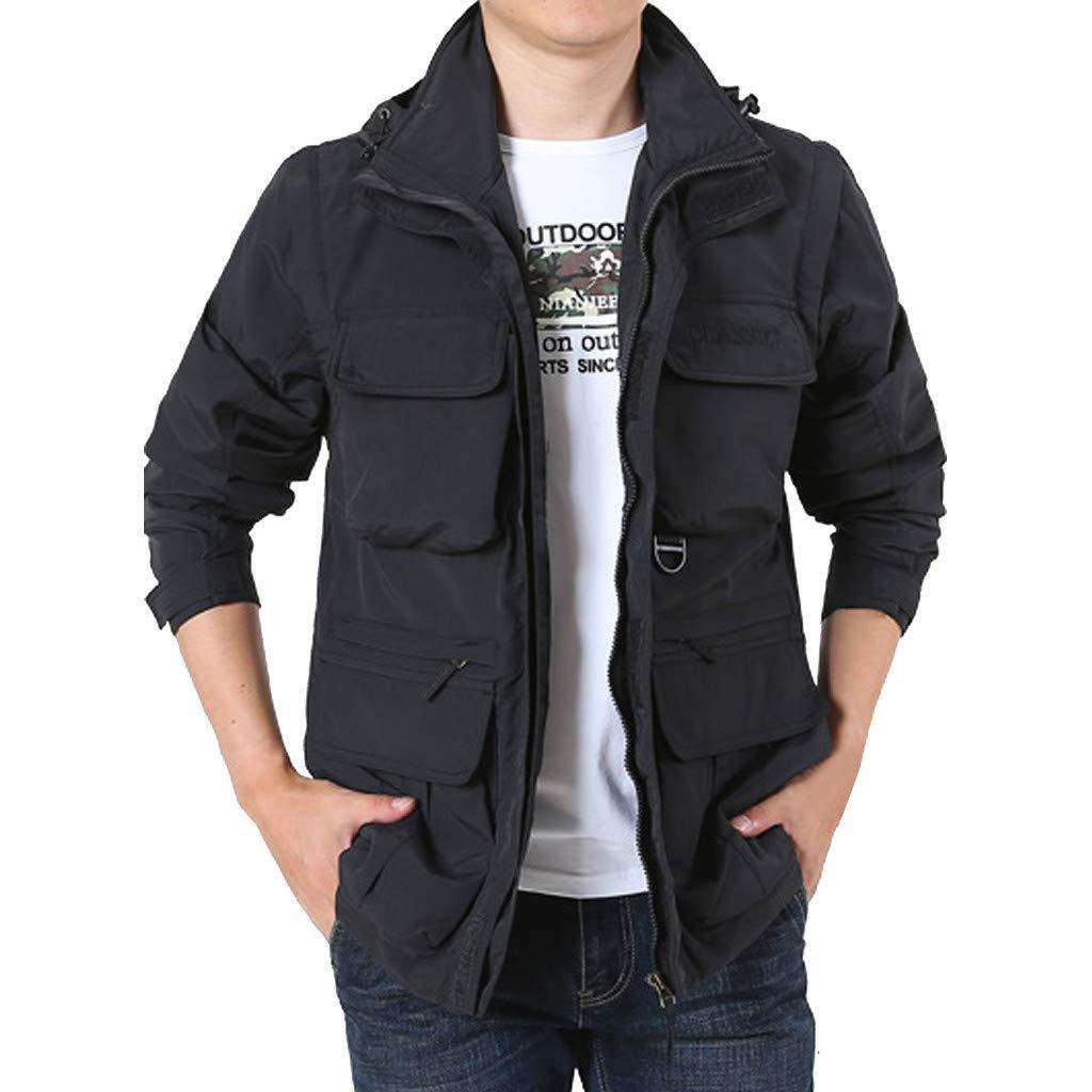 LUKALUKADA Men's Detachable Sleeve Hooded Loose Outdoor Mountaineering Sportswear Solid Zipper Pockets Coat Black by LUKALUKADA-Mens Coat