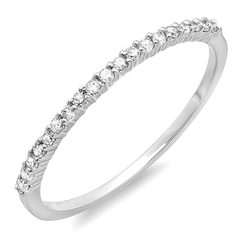 0.15 Carat (ctw) 14k White Gold Round Diamond Ladies Anniversary Wedding Band Stackable Ring (Size 10)
