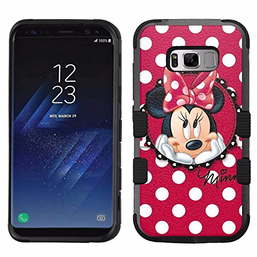 for Samsung Galaxy S8 Plus, Hard+Rubber Dual Layer Hybrid Heavy-Duty Rugged Armor Cover Case – Minnie Mouse #Red Polka Dots