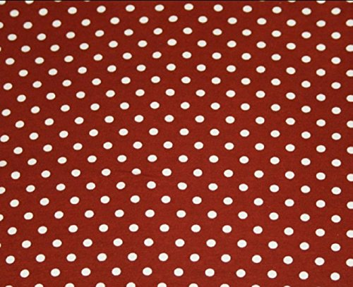 (Knit Brown with Small White Dots Design Fabric By the Yard, 95% Cotton, 5% Lycra, 60 Inches Wide, Excellent Quality, 1/4 inch Dots (4)