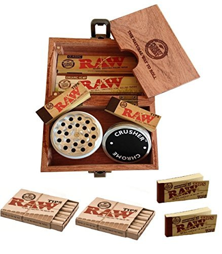 51vVR2k8wqL Raw Special Wood Rolling Box (10 Items Bundle) 4pc Grinder, Organic King Paper, Pre Rolled Hemp Tips...