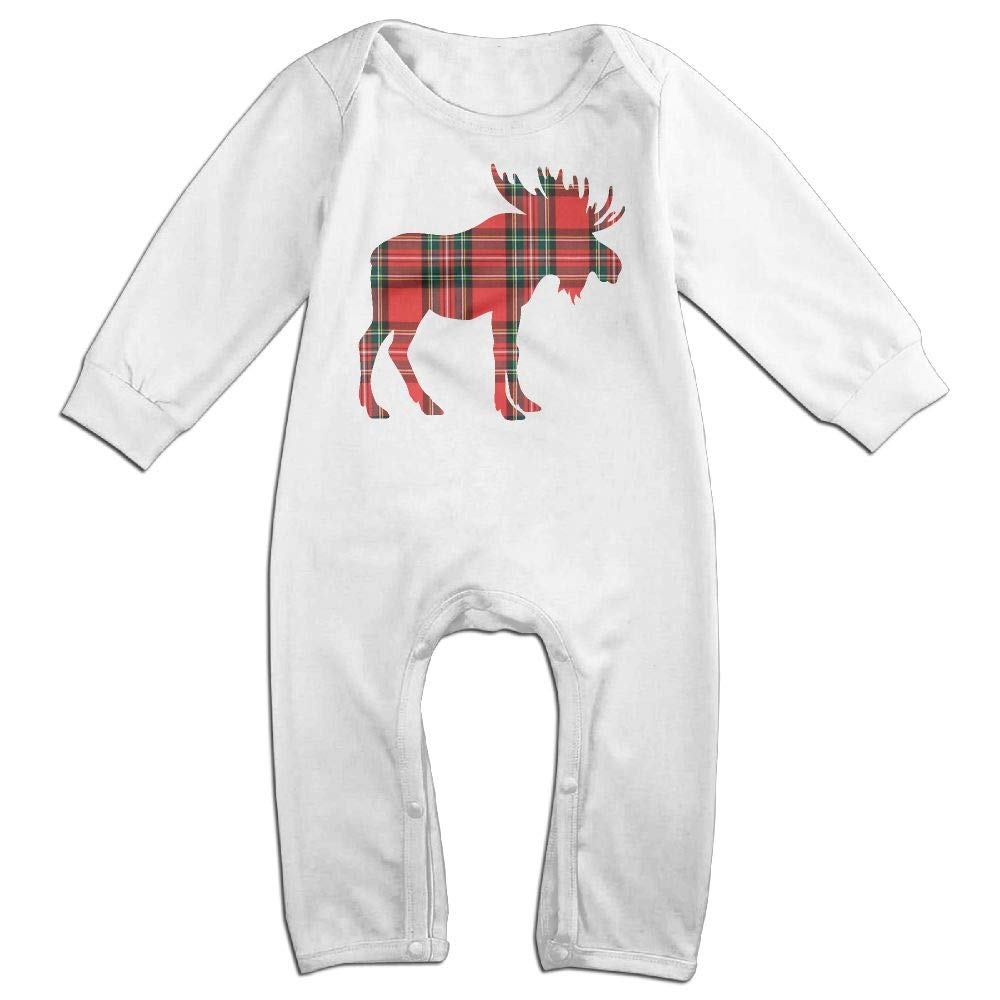 Mri-le1 Newborn Kids Bodysuits Buffalo Plaid Moose 3 Baby Rompers
