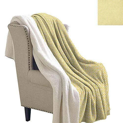 (Greek Key Baby Blanket Ancient Roman Culture Themed Minimalist Pattern Meander Diagonal Squares Tile Personalized Baby Blanket Yellow White W59 x L31)