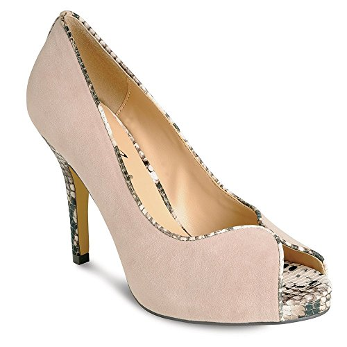 Lunar FLR136 Beige Suede Peep Toe Court Shoe with Snake Trim Ztjs3wBFyT
