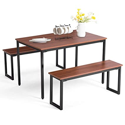 Pleasant Amazon Com Dining Table Set 2 Bench Wooden Rectangular Andrewgaddart Wooden Chair Designs For Living Room Andrewgaddartcom