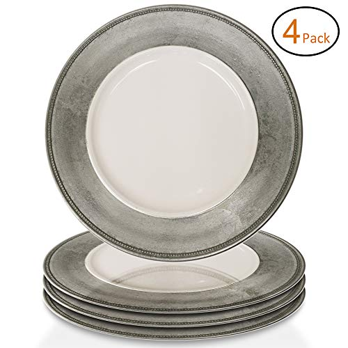 ChargeIt by Jay A466HRK-4 Leaf Rim Set of 4 Round Melamine Charger Plates 13x13