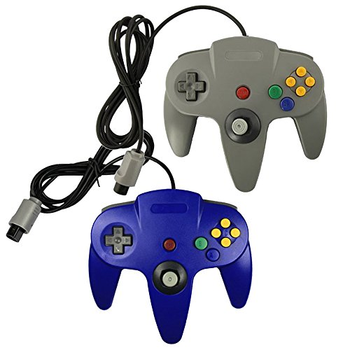 Pomilan 2 packs Game gaming pad console Controllers For Nintendo 64 N64 - Blue+Gray