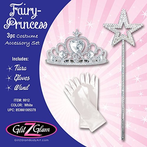 [Fairy Costume Princess Costume 3-Piece Accessory Set - Pearl White] (Tinker Bell Child Tiara)