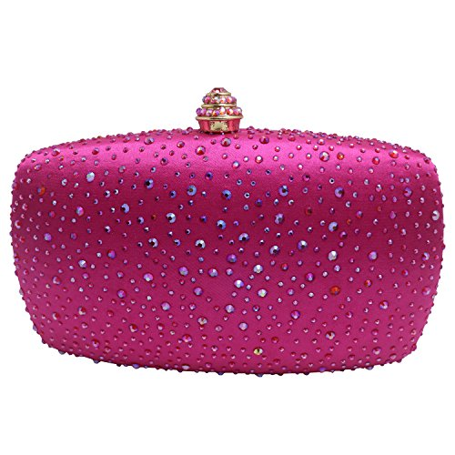 (DMIX Womens Crystal Box Clutch Evening Bags Fuschia)