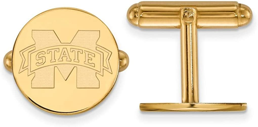 Gold-Plated 925 Silver Mississippi State University Cuff Links LogoArt GP012MSS