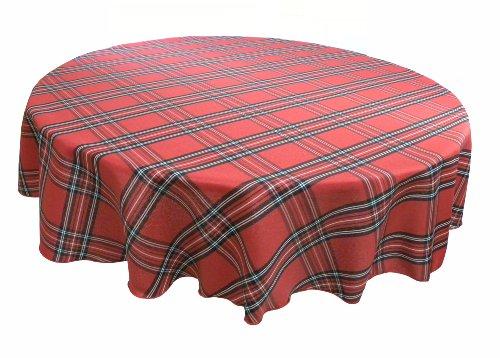 Sebastien & Groome Cozy Plaid Tablecloth Tartan Red 60RD