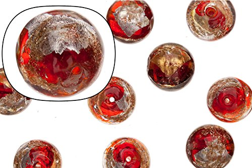Glass beads, red with gold and silver-colored foil finished with golden glitter, 14mm round sold per 12 pcs/string