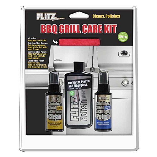 (Flitz Bbq Grill Care Kit W/liquid Metal Polish, Stainless Steel Cleaner, Stainless Steel Polish & Microfiber)