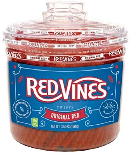 Red Vines Licorice, Original Red Flavor, 3.5LB Bulk Jar, Soft & Chewy Candy Twists ()