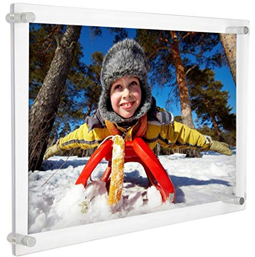 Cq acrylic 8.5x11 Clear Acrylic Wall Mount Floating Picture Frame or A4 Letter Size Photo for Document Certificate Sign Display -Double Sided Display