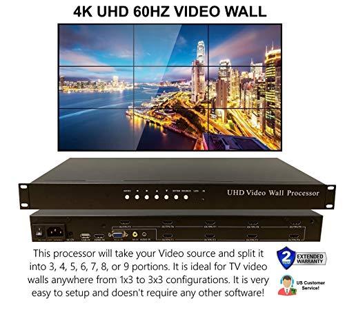 3×3 4K 60HZ UHD Video Wall HDMI Processor HDTV 1080p Controller Computer Splicer Rotate 180 Degrees 2×2 1×2 2×1 3×1 1×3 4×1 1×4 3×2 2×3 4×2 2×4