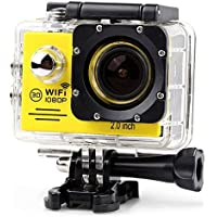 YOEMELY Waterproof 1080P Sports Action Camera with 2.0 Inch LCD for Underwater Photograph and Outdoor Sports (YELLOW)