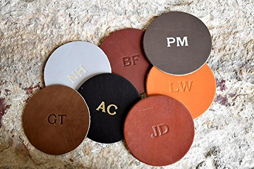 Custom Leather Circle Coasters - Set of 4. Monogram Coaster Set. Personalized Coasters. Multiple Colors, Gold & Silver Options Available Circle Monogram Set
