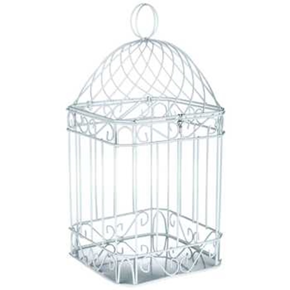 DELUXE 14'' WHITE METAL BIRDCAGE HOME DECOR ~ CARDHOLDER