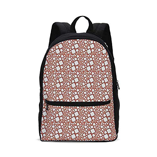 Abstract Fashion Canvas printed Backpack,Ornamental Squares with Oval Corners in Various Shapes Geometric Pattern for school,One_Size