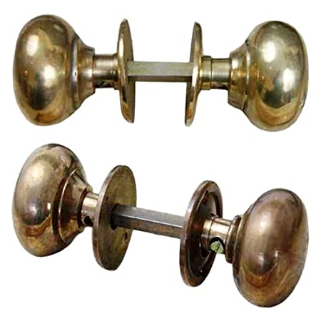 Traditional Brass Cottage Rim Door Knob Pair 55mm Polished Brass ...