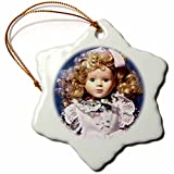3dRose orn_50247_1 Shirley Temple Doll-Snowflake Ornament, Porcelain, 3-Inch