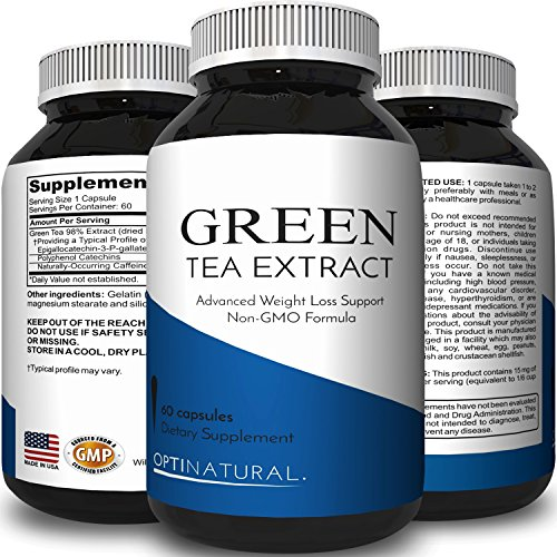 Green Tea Pills Stomach Fat Burner All Natural Weight Loss Men & Women Boost Metabolism Heart Health Supplements Detox Cleanse Pure Green Tea Leaf Extract Energy Booster Antioxidant by Opti Natural