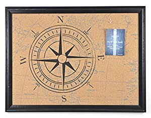 """Concepts Cork Message Bulletin Board Compass Print & Black Wood Frame 18""""X24"""" includes 6 pins"""