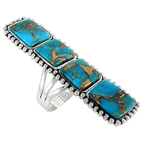 Sterling Silver 925 Genuine Copper-Infused Matrix Turquoise Ring (Turquoise Matrix)