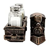 "Atlantic Collectibles Bronzed Resin Railroad Express Locomotive Train Salt Pepper Shakers Holder Figurine Set 8.5""L"