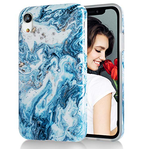 iPhone XR Case,Blue White Marble,Slim Soft Flexible TPU Marble Pattern Cover for Apple iPhone XR