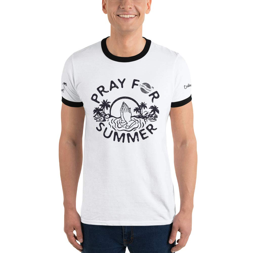 Sunset Palm Tree Funny Graphic Tee Pray for Summer Classic Throwback Vintage Ringer T-Shirt Endless Summer Inc
