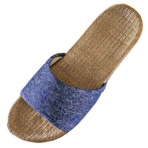 SSYUNO Unisex Linen Skidproof Comfortable Lightweight House Slippers Non-Slip Beach Sandals Blue