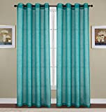 RT Designers Collection Sparkle Woven 54 x 90 in. Lurex Grommet Curtain Panel, Teal For Sale