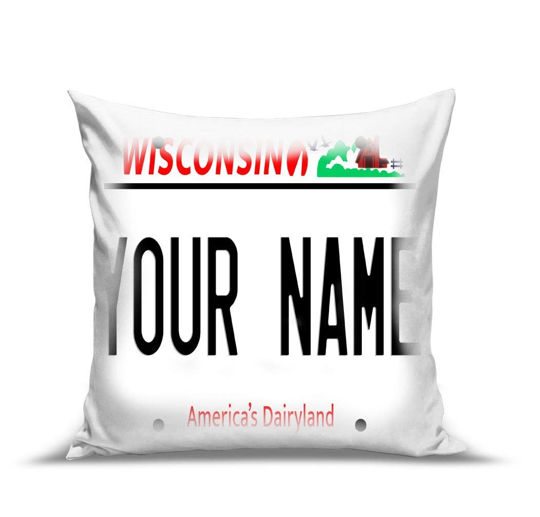 BRGiftShop Personalize Your Own Wisconsin State License Plate 15.75x15.75 Linen Pillow Case no insert