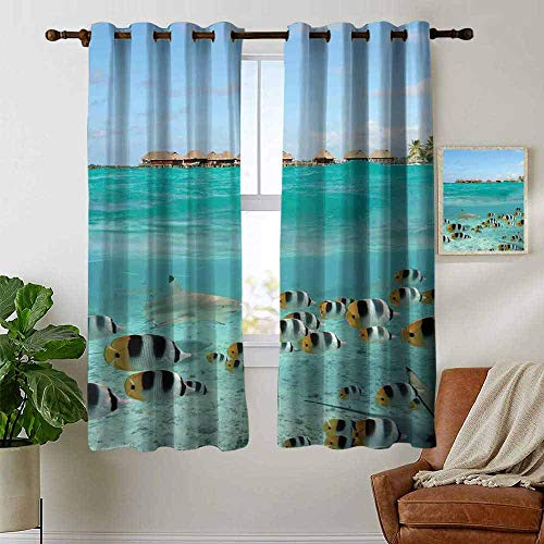 backout Curtains for Bedroom Ocean,Blacktip Reef Shark Chasing Butterfly Fish Lagoon of Bora Bora Tahiti,Aqua Yellow and Black,Pocket Thermal Insulated Tie Up Curtain 42