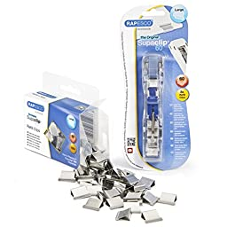 Rapesco Supaclip 60 Kit with Dispenser and 100 Stainless Steel Refill Clips (1300)