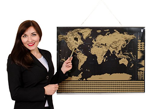 Scratch off world map poster frame included deluxe glossy finish scratch off world map poster frame included deluxe glossy finish detailed newly improve map by 2gecko thicker paper scratch tool and gold marker pen gift gumiabroncs Images