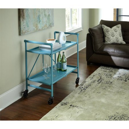 Quick and Easy Cosco Folding Serving Cart, Multiple Colors (Teal) by Cosco