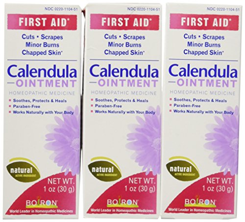 Boiron Calendula Ointment, Homeopathic Medicine for Skin Irritation and Burns, 1 Ounce (Pack of 3)
