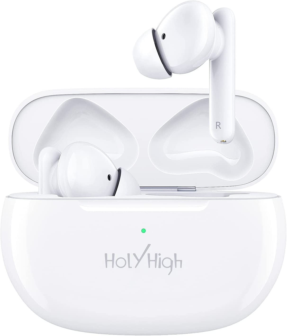 HolyHigh Wireless Headphones Bluetooth 5.0 Active Noise Cancelling Earphones IPX5 Waterproof ANC in-Ear Earbuds with 4 Built-in Mics Long Playtime Deep Bass for Music and Clear Calls