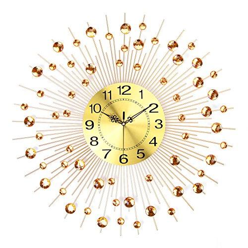 NEOTEND 3D Wall Clock 64pcs Diamonds Decorative Clock Diameter 25.6 Gold