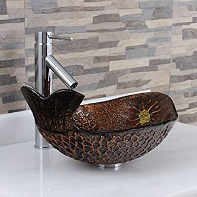 ELITE Atlantic Whale Pattern Tempered Glass Bathroom Vessel Sink & Chrome Single Lever Faucet
