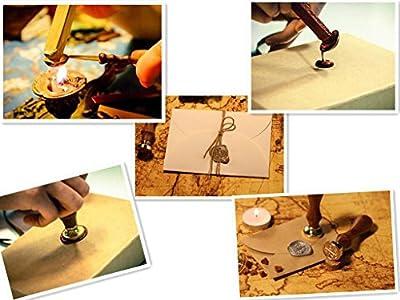Kooer Viking Rune Vegvisir Wax Seal Stamp Custom Viking Rune Sealing Wax Stamp Kit Vegvisir Wax Stamp Custom Wedding Invitation